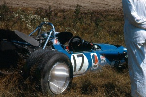 Stewart's Matra on the inside of Mosport's corner 2 during the 1969 Canadian Grand Prix