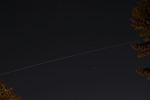 A short time lapse photo of the International Space Station over Edmonton, Alberta 2009