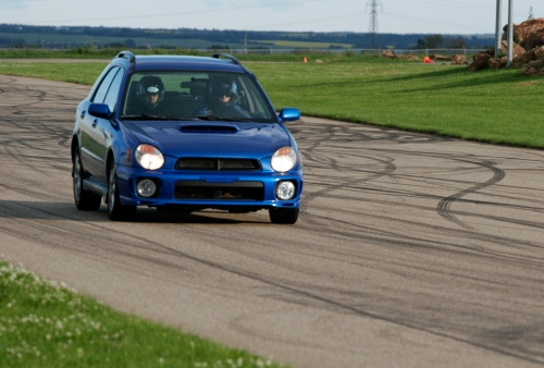 Brad's Subaru on track