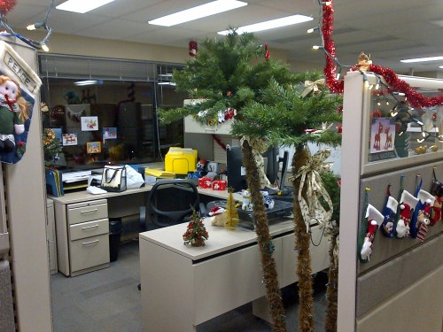 A Christmas theme for my cubicle.